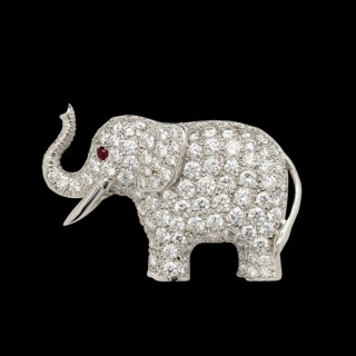 A White Gold And Diamond Elephant Brooch By E. Wolfe & Co.