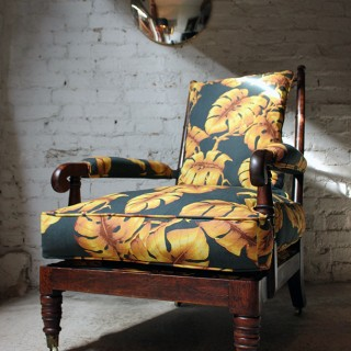 A Sublime Late Regency Period Faux Bamboo Upholstered Open Armchair c.1820