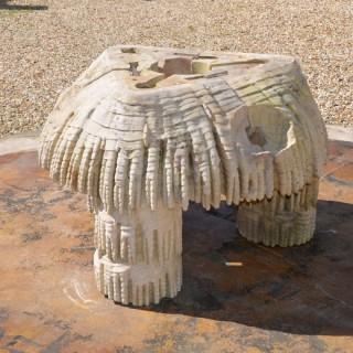 A Coade stone triangular fountain base by Coade