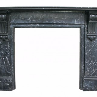19th Century Late Victorian Nero Marquina marble chimneypiece
