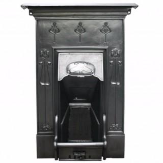 Reclaimed Edwardian Art Nouveau Cast Iron Combination Grate