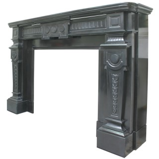 Antique 19th century Continental black marble fire surround