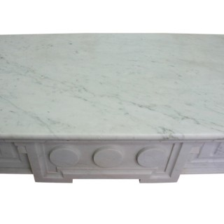 Antique Continental 19th century white marble fireplace surround
