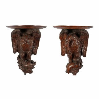 Pair of Carved Oak Wall Brackets