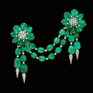 'Les Ferrets De La Reine' An Exceptional Emerald And Diamond Devant De Corsage By Fulco Di Verdura, Paris 1958
