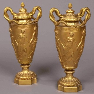A Pair of French Antique Gilt Bronze Urns