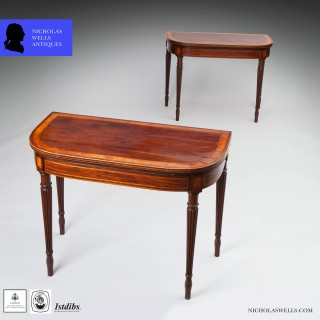 PAIR OF GEORGE III HEPPLEWHITE MAHOGANY CARD TABLES Attributed to Gillows