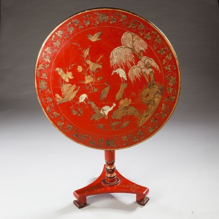 CHINESE EXPORT RED LACQUER TILT TOP TABLE