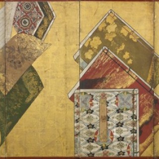 A six-fold paper screen painted in ink and colour on a gold ground with elaborately bound books