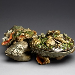 A multi-coloured glazed ceramic iremono (box) in the form of a cluster of shells