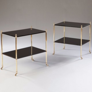 PAIR OF MALLETT STYLE BLACK LACQUER AND POLISHED BRASS TWO TIER TABLES