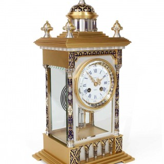 Gilded and Silver-plated Four-Glass Clock by Maple & Co