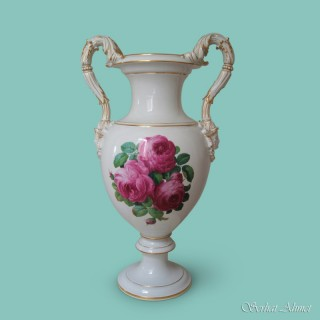 Meissen Large Vase with Pink Rose Bouquets, c.1890 - 1900