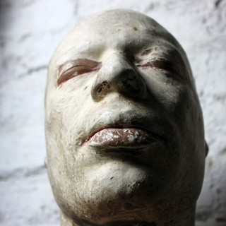 A Very Interesting Contoured Anthropomorphic Composition Painted Plaster Death Bust Mask of an African Gentleman c.1930