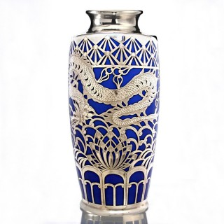 fine c.1935 Gräf & Krippner porcelain vase with silver overlay by Deusch & Co.