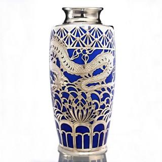 fine c.1935 Gräf & Krippner porcelain vase with silver overlay by Deusch & Co.