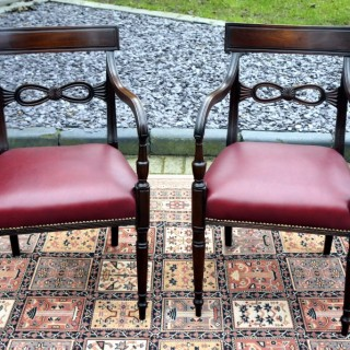 Matched Pair Antique Regency Open Armchairs / Desk Chairs