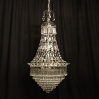 French Silver 12 Light Waterfall Chandelier