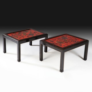 PAIR OF BLACK & RED LACQUER END TABLES