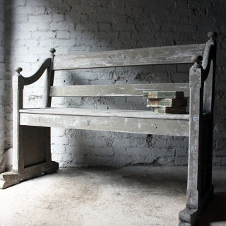 A Beautiful 19thC Ecclesiastical Gothic Revival Painted Pine Bench c.1860-70
