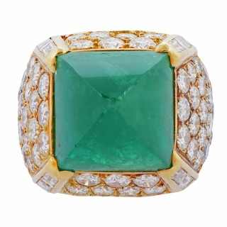 Gold, Emerald, and Diamond Ring by O.J. Perrin