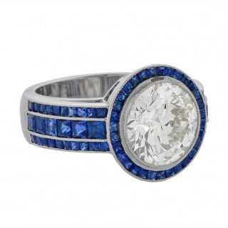 Platinum, Diamond, and Sapphire Ring
