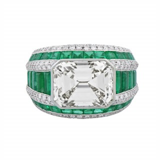 A Diamond and Emerald Ring by Morelle Davidson