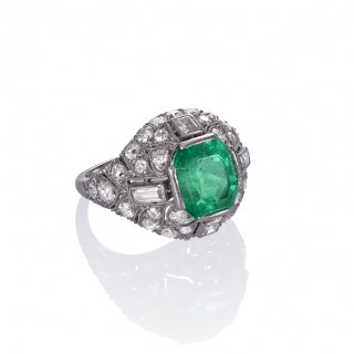 French Emerald and Diamond Art Deco Ring