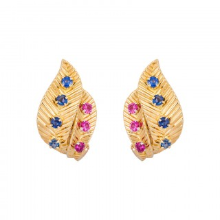 Pair of Gold, Ruby, and Sapphire Leaf Ear Clips by Van Cleef & Arpels