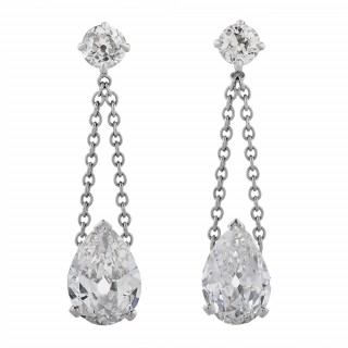 Pair of Platinum and Diamond Drop Ear Pendants