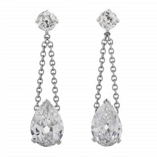 Pair of Platinum and Diamond Drop Ear Pendants