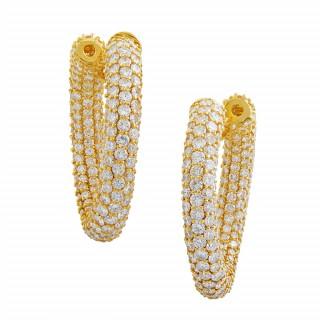 Pair of Large, Gold and Diamond Hoop Earrings