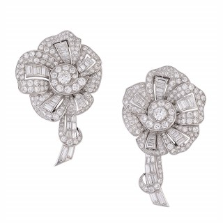 Pair of Art Deco Diamond and Platinum Lapel Clips