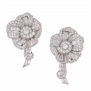 Pair of Art Deco Diamond and Platinum Lapel Clips