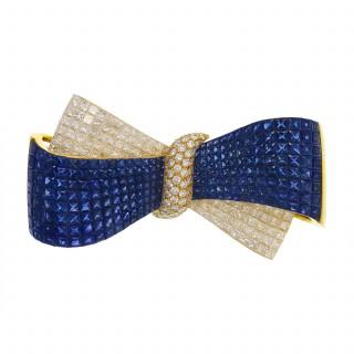Gold, Sapphire, and Diamond Bow Brooch