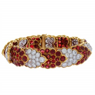 Diamond, Gold, and Ruby Bracelet