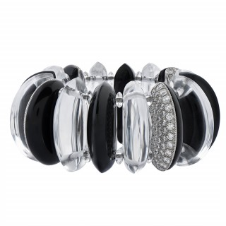Rock Crystal, Onyx, and Diamond Bracelet by Morelle Davidson