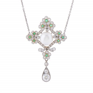 Edwardian Platinum, Natural Pearl, Emerald, and Diamond Pendant