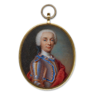Portrait miniature of a Nobleman, possibly Charles Knyvett (1710-82), wearing armor and red cloak, his hair powdered and worn en queue, c.1750
