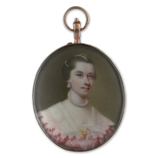 Portrait miniature of a Young Lady, wearing pink dress with wide lace collar and yellow bow, pearls at her neck and in her hair, c.1750