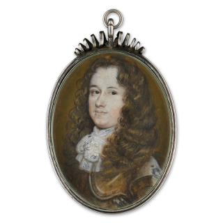 Portrait miniature of a Gentleman, wearing gilded armour, white neckcloth and natural, full wig, c.1650