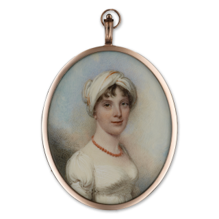 Portrait miniature of a Lady, wearing a white dress, a turban and a coral necklace