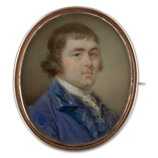 Portrait miniature of a Gentleman, wearing a lilac-coloured coat with gold braided button holes and a matching waistcoat and white lace stock