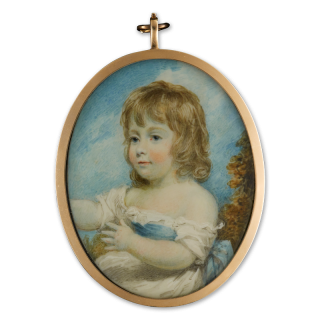 Portrait miniature of a Young Girl, traditionally identified as Mary Welsh, wearing white dress, tied with a blue sash and set in a landscape background, c.1790