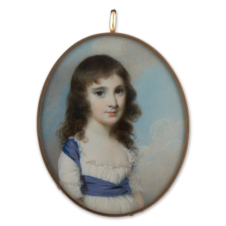 Portrait miniature of a Young Girl, possibly a Miss Ross, wearing a white dress with a frilled lace border and purple sash, her dark hair curled