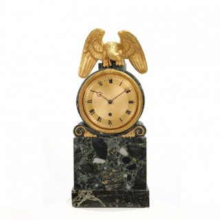 Green marble mantel clock by Benjamin Vulliamy