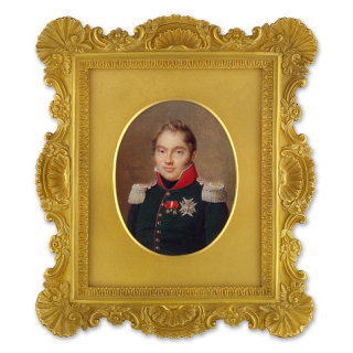 Portrait miniature of Charles-Ferdinand d'Artois, Duc de Berry (Duke of Berry) (1778-1820), wearing the star of the Order of the St Esprit and other official badges including the Order of the Legion d'Honneur