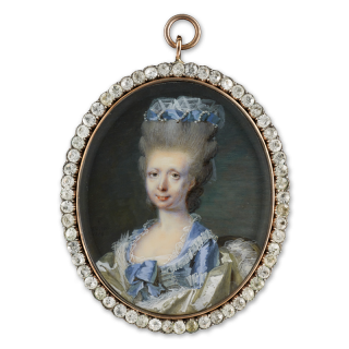 The Comtesse de Blarenghien (1739-1800), wearing a low-cut frill-edged dove blue satin dress , a fur-bordered white satin cloak, her upswept, powdered hair adorned with blue silk bandeau, a strand of pearls and white gauze, seated on a gilt-wood chair