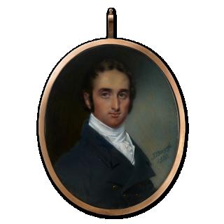 Portrait miniature of a Gentleman wearing double-breasted dark blue coat