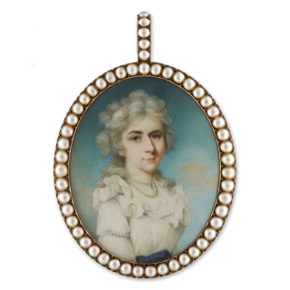 Portrait miniature of a Countess, wearing white dress with ruffled neckline and blue waistband, pearl necklace, a white ribbon in her powdered, curled hair